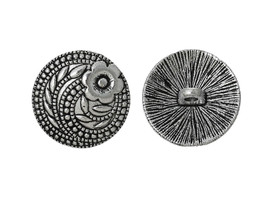 2 Boutons ronds en métal argenté - 17 mm - B007T