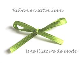 1 mètre de ruban satin vert olive 3 mm