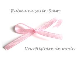 1 mètre de ruban satin rose clair 3 mm