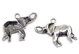 2 Breloques éléphant en métal argenté - 27 x 20 mm - RZZ118