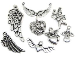 8 breloques sur le thème des anges en métal argenté  - RZZ32