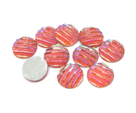 10 cabochons strass synthétique rose irisé 10 mm  - CCW31
