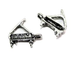 2 Breloques piano en métal argenté vieilli - 15 x 14 mm - RZZ170