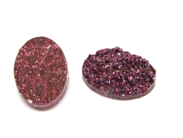 2 cabochons en résine pailletée rose - 18 x 13 mm - CCW37