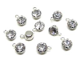 10 Breloques strass en métal argenté 9 x 6 mm