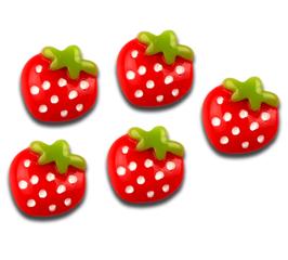 5 cabochons fraise en résine  - 16 x 15 mm