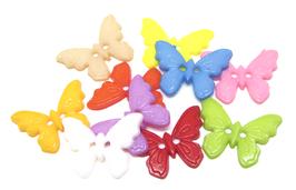 10 boutons papillon de couleurs mixtes 17 x 22 mm - BT071