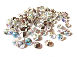100 strass pointus synthétique 5 mm couleur cristal AB  - CCW7