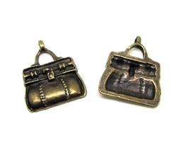 2 breloques Sac à main en métal bronze - 19 x 17 mm - TR043