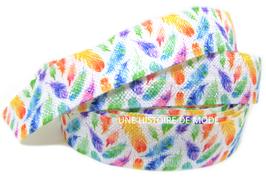 Ruban élastique plumes multicolores  - 15 mm - EL7