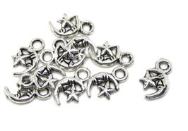 10 breloques lune et étoile en métal argenté - RZ130