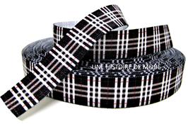 Ruban élastique écossais noir - 15 mm