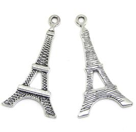 2 Breloques tour Eiffel en métal argenté - 35 x 18 mm - RZZ54