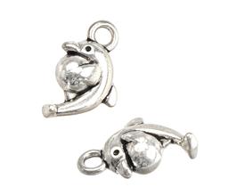 2 Breloques dauphin en métal argenté - 15 x 9 mm - RZZ164