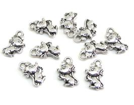 10 Breloques souris en métal argenté 12 x 7 mm  RZZ2