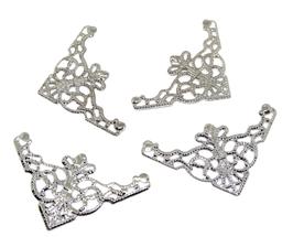 4 estampes filigrane triangle argenté - 48 x 26 mm - E6