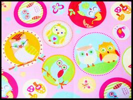 Tissu enfant en coton rose et motifs hiboux  - 50 x 45 cm -  T67