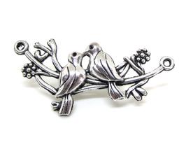 Connecteur oiseaux sur branche en métal argenté - 46 x 21 mm - F206W