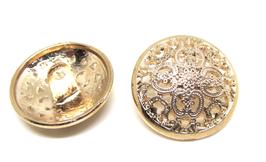 Bouton en métal doré gravé 20 mm  à coudre - B304