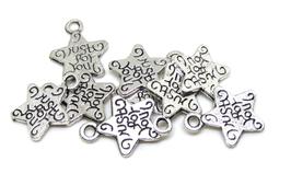 """10 breloques étoile gravée """" JUST FOR YOU """" en métal argenté 14 x 12 mm -  RZZ30"""
