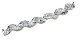 1 mètre de ruban croquet argenté - Serpentine 8 mm