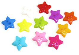10 Boutons en forme d'étoile de couleurs mixtes - BT104