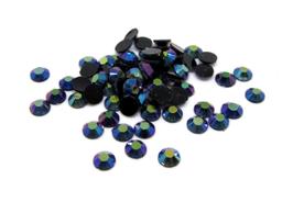 100 demi-perles 3 mm en acrylique couleur jet AB - CCW59