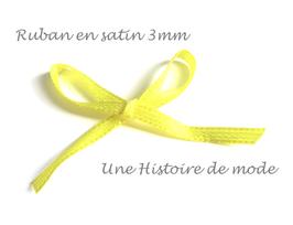1 mètre de ruban en satin jaune 3 mm
