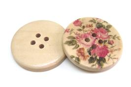 2 Gros bouton en bois à fleurs - 30 mm - BT054