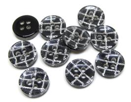 10 boutons acrylique noir à carreaux  - 11 mm  - BT078