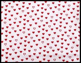 Tissu en coton blanc à coeurs rouges 50 x 45 cm - T62