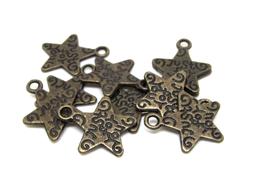 """10 breloques étoile gravée """" JUST FOR YOU """" en métal bronze  - TR040"""