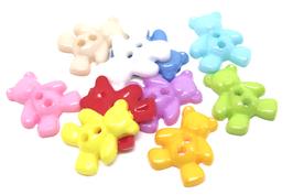 10 boutons acrylique oursons de couleurs mixtes 19 x 16 mm - BT068