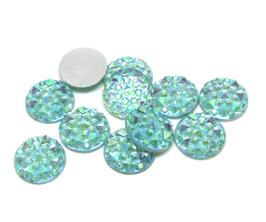10 cabochons strass bleu clair irisé synthétique 10 mm - CCW21