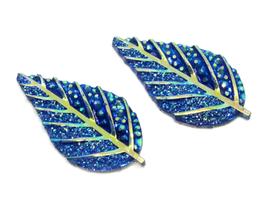 2 cabochons feuilles bleues irisées - 32 x 17 mm - CCW60
