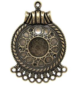 Pendentif médaillon multi-rangs en métal bronze - RZZ57