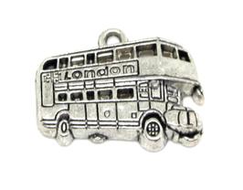 Breloque bus anglais en métal argenté - 25 x 19 mm