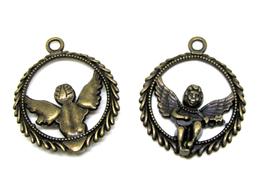 2 pendentifs ange dans un cercle en métal bronze 25 mm - TR030