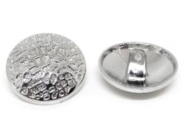 1 Bouton rond en métal décoré argenté - 22 mm - B012T