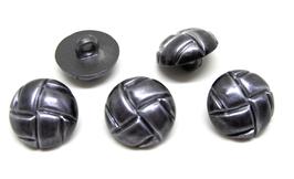 5 boutons gris foncé en synthétique - 16 mm - BT013