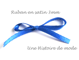 1 mètre de ruban satin bleu roi 3 mm
