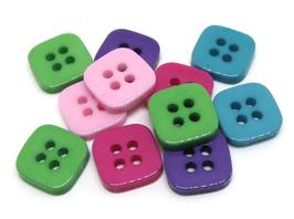 10 boutons carrés couleurs mélangées 11 x 11 mm - BT067