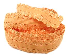 Ruban élastique dentelle orange - 20 mm