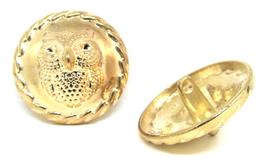1 bouton hibou en métal doré 25 mm - B002F