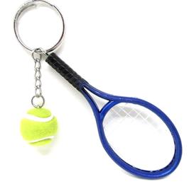 Porte-clés raquette de tennis bleue  - 122 x 37 mm
