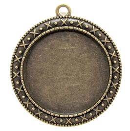 Grand support cabochon en métal bronze ± 44 x 40 mm - RZZ90