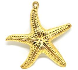 Grand pendentif étoile de mer en métal doré - 61 x 58 mm