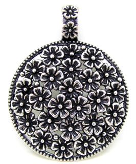 Grand pendentif rond à fleurs en métal argenté ± 60 x 45 mm - RZZ177