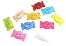 10 boutons en forme de bonbon de couleurs mixtes - BT105