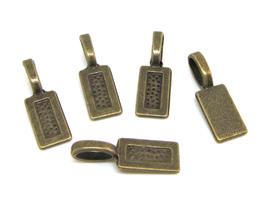 5 pendentifs à coller en métal bronze  - 21 x 7 mm - 0003